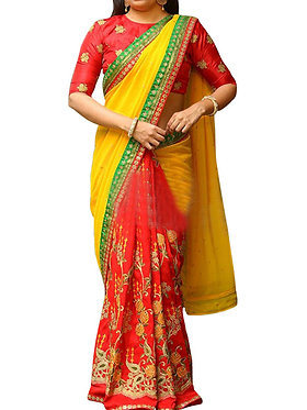Buy Georgette Yellow & Red Replica Saree
