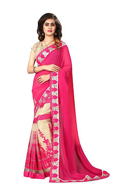Buy Georgette With Nylon Mono Net Cream & Pink Replica Saree