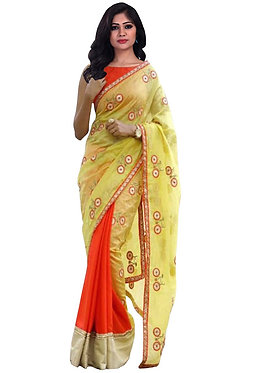 Buy Chanderi Silk With 60gm Georgette Yellow & Red Replica Saree