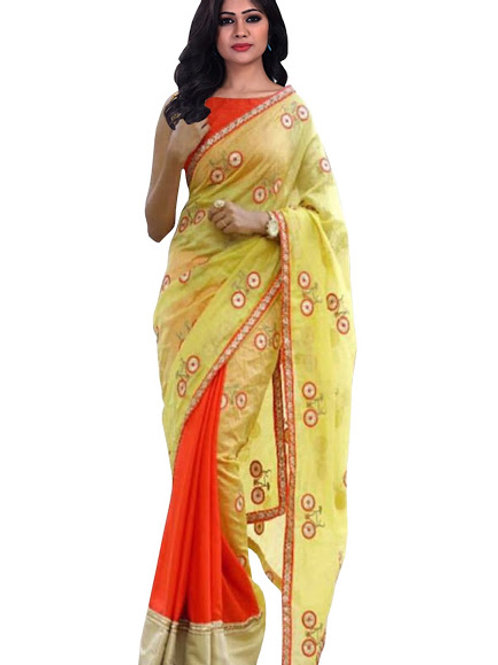 new collection, orange and yellow saree, georgette saree, silk saree, plain blouse, embroidery work, lace work