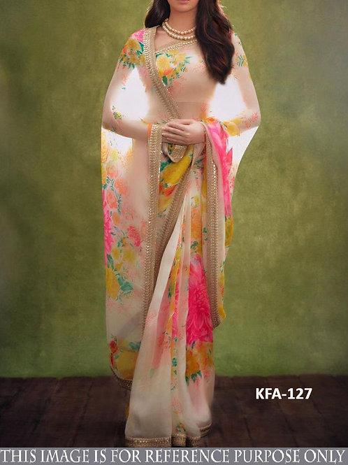 replica saree, nora fatehi saree, organza silk digital printed saree, plain blouse,