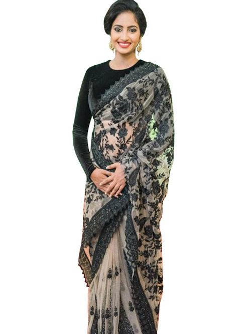 designer saree, new collection, shree Devi black saree, plain blouse, heavy work, party wear, embroidery work