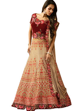 Malaika Arora Taffeta Silk Cream And Red Replica Lehenga Choli