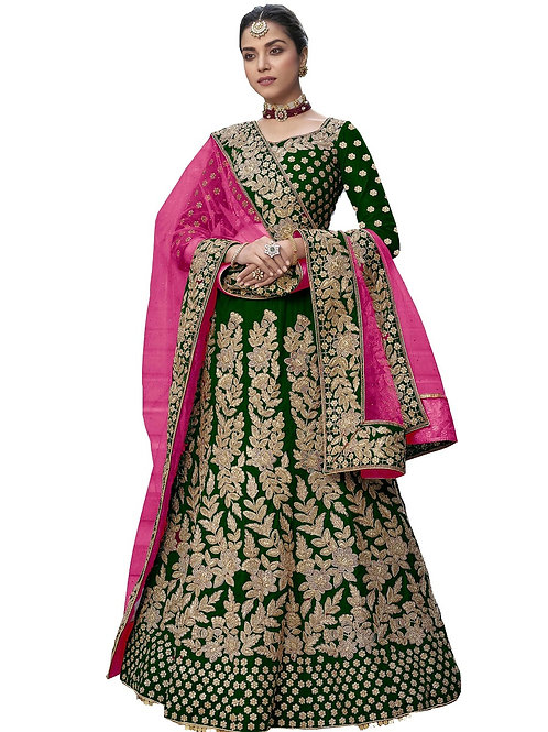 Heavy Work Lehenga Choli, Velvet, Embroidered Lehenga Choli, Lace Dupatta, Bridal, Green Lehenga Choli