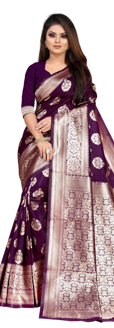 Buy Lichi Silk Purple Fancy Replica Saree