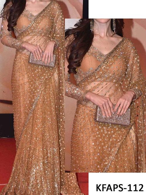 Gold net saree, dabbang saree,zary work saree, bollywood saree, replica saree, sequence work