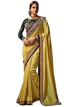 Buy Chiffon Georgette Yellow Replica Saree