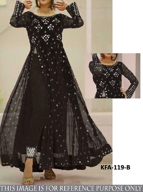 stylish indo western gown, black gown, embroidery work, mirror work, casual wear