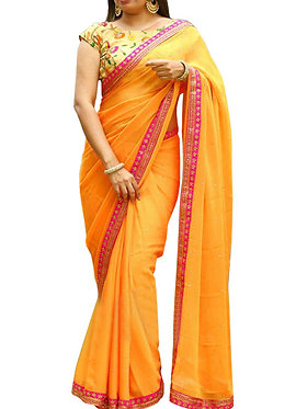 Buy Georgette Orange Replica Saree