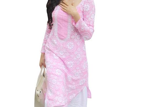 Jhanvi Kapoor Pure Cotton Pink & White Replica Palazzo