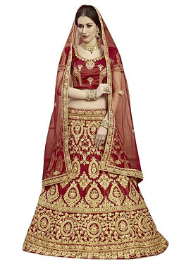 Latest Net Maroon Embroidered Lehenga Choli
