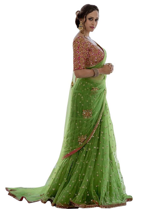 new collection, high demanding, nylon mono net green saree, embroidery work, lace work, pink work blouse, under 1500