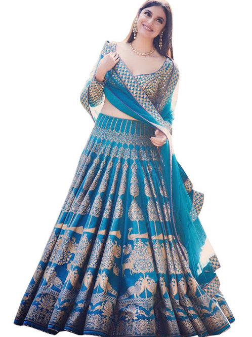 designer lehenga,new collection, latest blue silk lehenga choli, printed, classy, casual, high demanding,