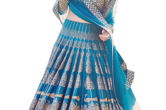 Divya Khosla Silk Blue Printed Replica Lehenga Choli