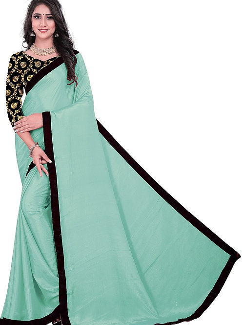 lettest plain saree, Jaccard printed blouse, casual wear saree, with classy look, sky blue plain saree