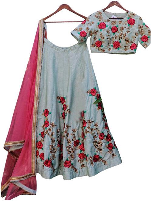 latest lehenga choli, designer, silk fabric, embroidery work, casual wear, party wear, under 2000, pink dupatta, sky blue