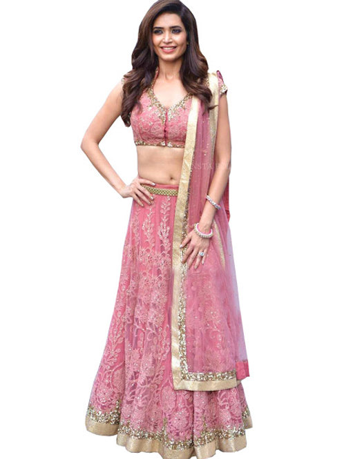 designer latest replica Karishma tanna pink lehenga choli, embroidery work, high quality, bride collection, under 2000
