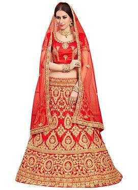 Latest Net Red Embroidered Lehenga Choli