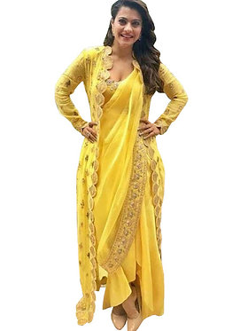 Kajol Yellow Georgette Bollywood Saree With Koti