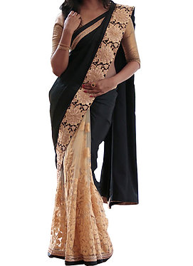 Buy Georgette With Nylon Net Black & Cream Replica Saree