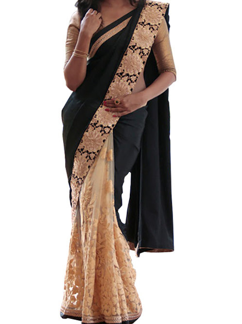 Designer saree , net and georgette fabric black and cream color, lace work, embroidery  work