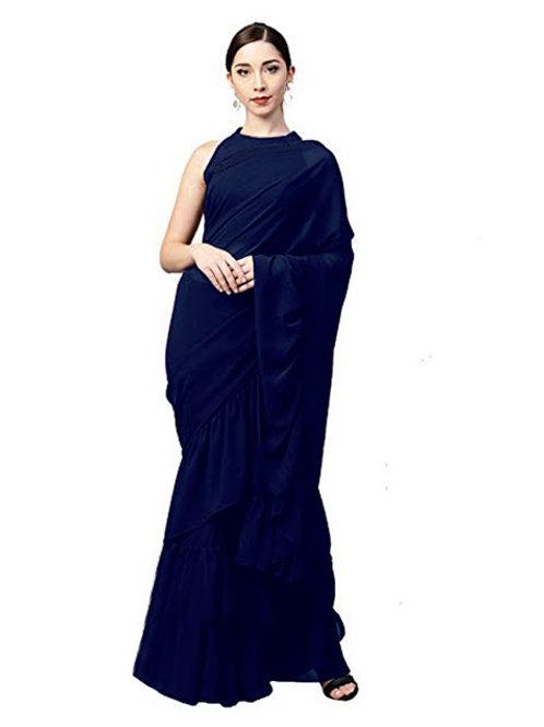 casual saree, plain saree, blue saree, lace work, sleevless blouse, plain blue blouse under 1000