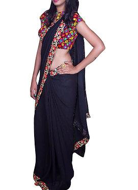 Buy Georgette Black Bollywood Replica Saree