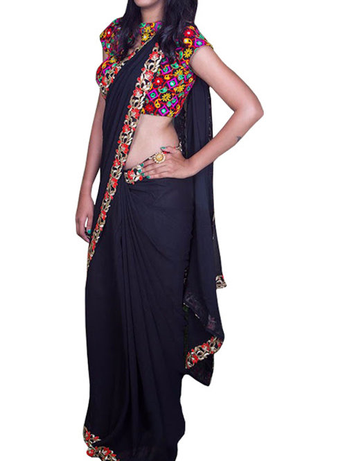 new collection, georgette saree,lace work, embroidery work blouse, gujarati work blouse,