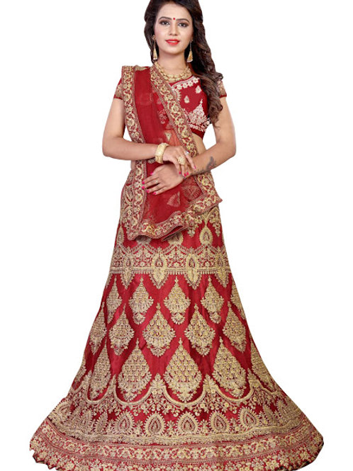 Latest Maroon Net Embroidered Lehenga Choli