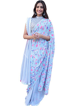 Sonam Kapoor Sky Blue Digital Georgette Print Replica Saree