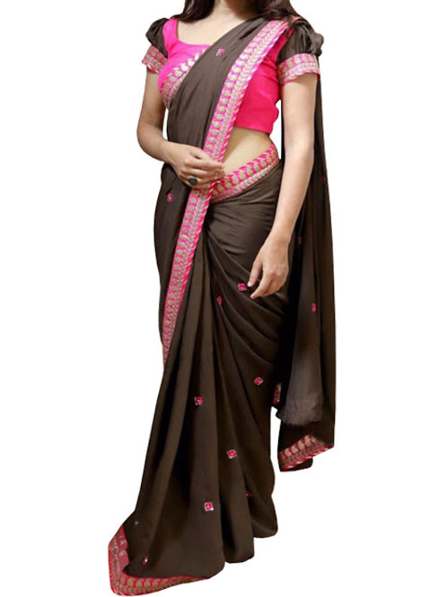 new collection, georgette saree, lace work, plain pink blouse, casual wear, under 1000