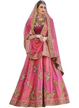 Buy Phantom Silk Rani Pink Heavy Lehenga Choli