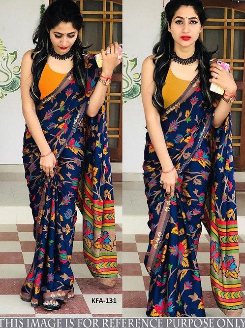 new arrival saree, blue printed saree, silk saree, yellow blouse, best collection