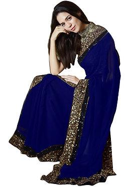 Buy Georgette Silk Blue Replica Saree