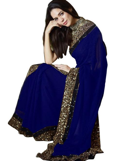 new collection, georgette saree, lace work, sequence work, plain saree, plain blue bouse, under 1000