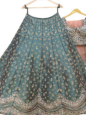 Buy Taffeta Silk Rama Green Replica Lehenga Choli