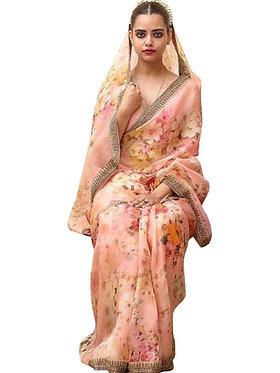 Buy Silk Light Pink Digital Printed Replica Saree
