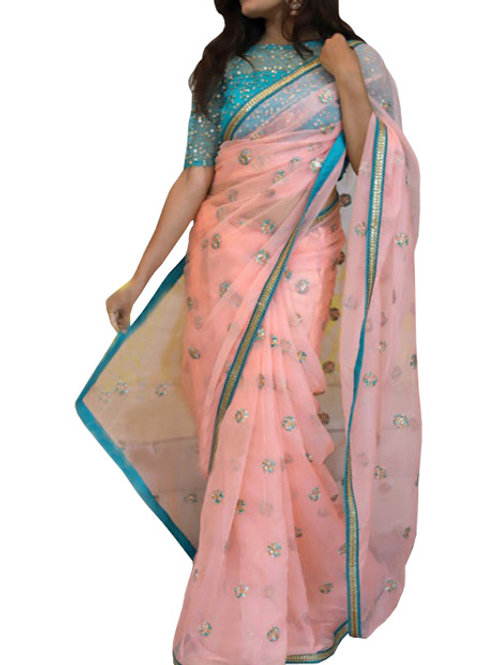 Buy Nylon Net Light Pink Replica Saree