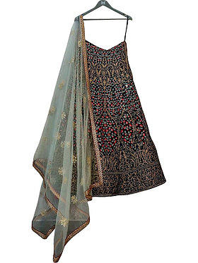Buy Taffeta Silk Multi Color Heavy Replica Lehenga Choli