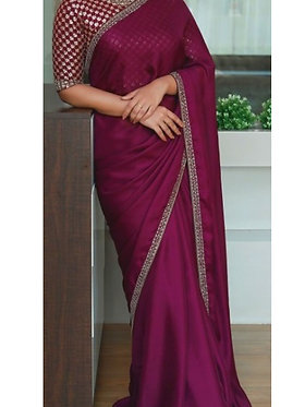 Buy Georgette Silk Purple Saree