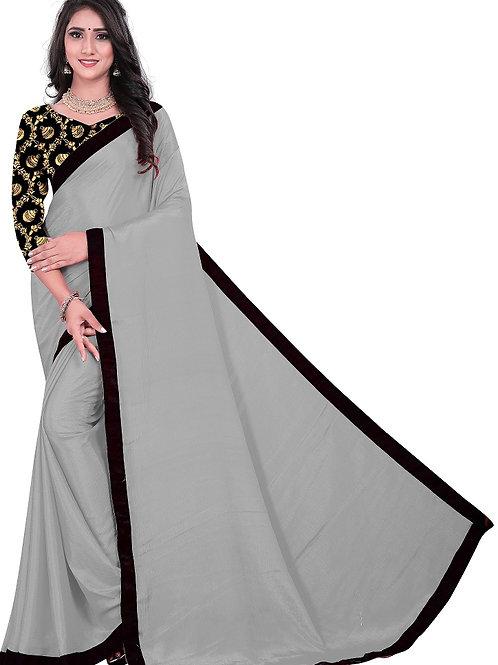 new collection, gray saree, plain saree, new arrival, designer saree, under 500, Jaccard blouse, black and golden blouse