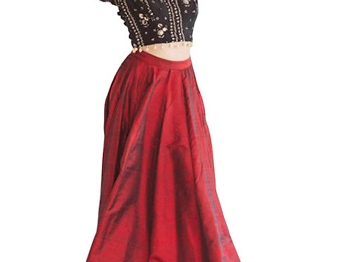 Buy Taffeta Silk Maroon Fancy Replica Lehenga Choli