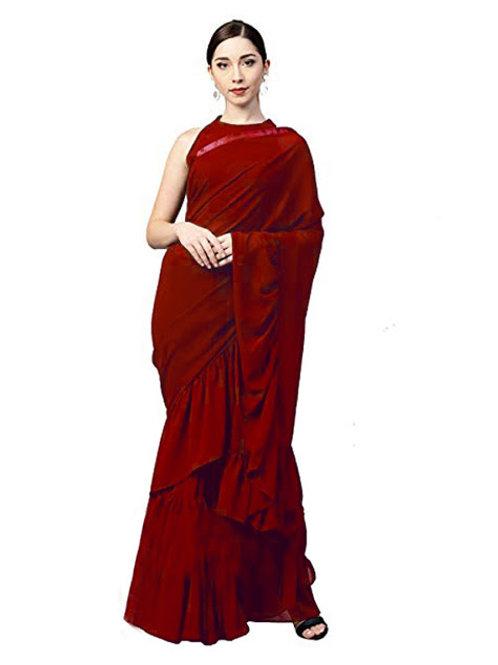 casual saree, plain saree, red saree, lace work, sleev less blouse, plain red blouse under 1000