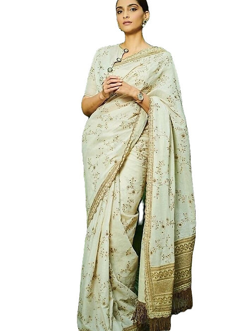 Sonam Kapoor Georgette White Saree With Embroidery Work
