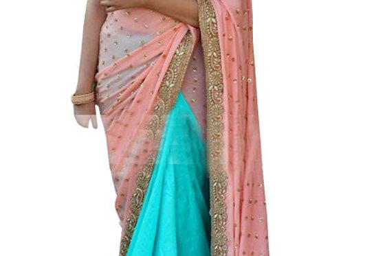 Buy Georgette Peach & Blue Bollywood Replica Saree