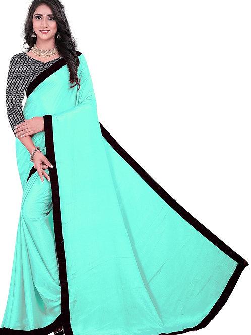 new collection, new arrival, rama green saree, plain saree, lace work saree, casual wear saree, doted silver blouse