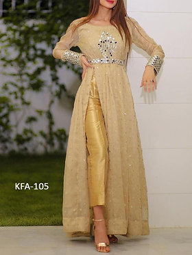 Kaavi Fab Stylish Cream Georgette Long Gown