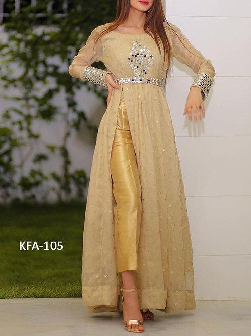 Kaavi Fab Stylish Cream Georgette Long Gown
