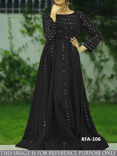 new latest designer gown, black gown, floor length gown, casual wear gown, paper mirror work, under 1000