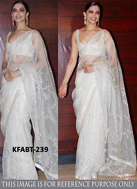 Bollywood Deepika Padukone White Silk Saree